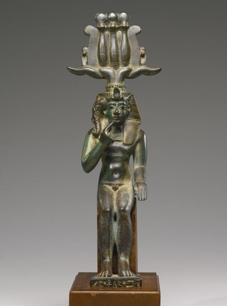 Figura de Bronce egipca de Harpócrates.