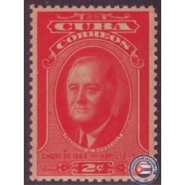 Sello postal de Roosvelt en Cuba (1947).