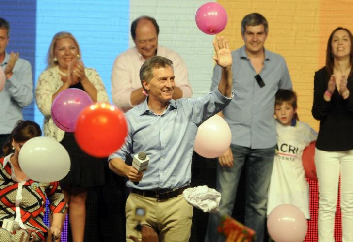 Mauricio Macri desde el búnker de Cambiemos.