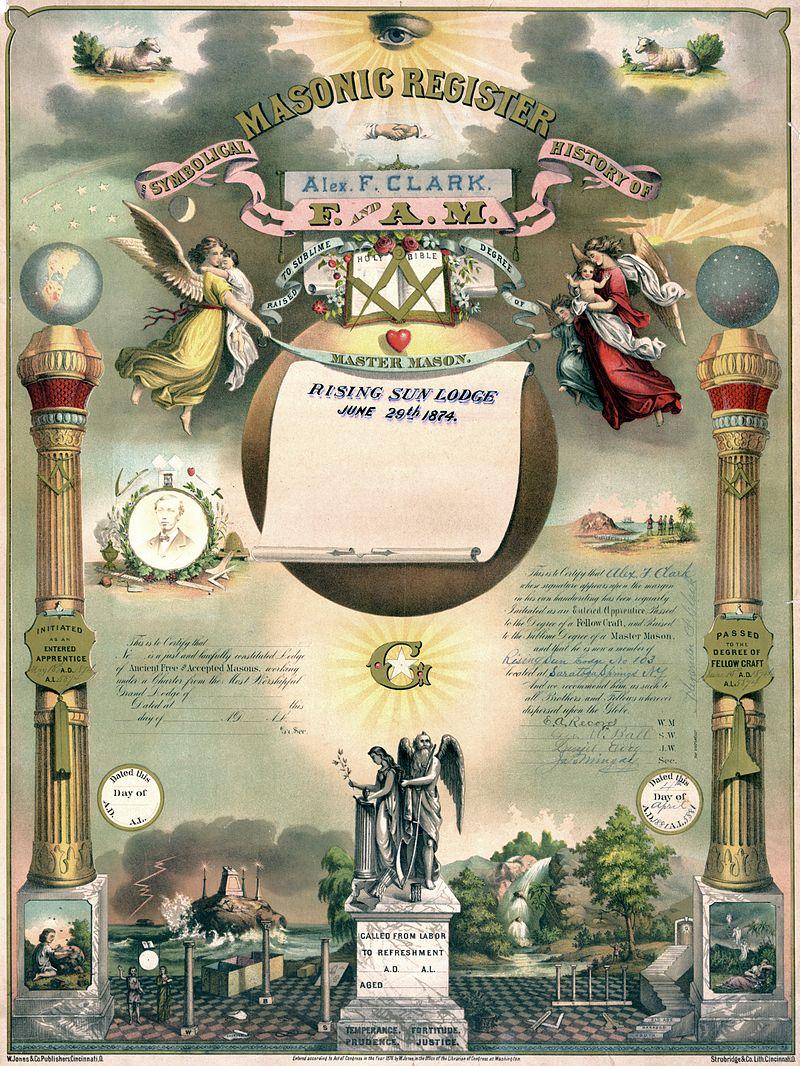 Certificado de Maestro Masón, data de 1874.