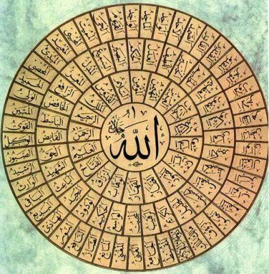 """""""Hay 99 nombres que son solamente de Allah. Quienquiera que los aprenda, comprenda y enumere (`ihsa') entra en el Paraíso y logra eterna salvación."""""""