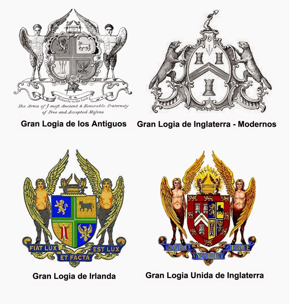 Composición del  escudo de armas de la Gran Logia Unida de Inglaterra.