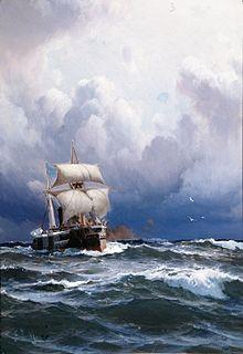 El Almirante Brown llegando a puerto, óleo sobre tela de Eduardo de Martino.