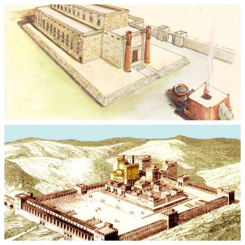El primer Templo del rey Salomón (Arriba). El tercero templo construido por el rey Zorobabel (Debajo).
