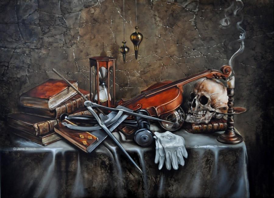 Obra del pintor Jens Rusch donde representa algunos símbolos masónicos.