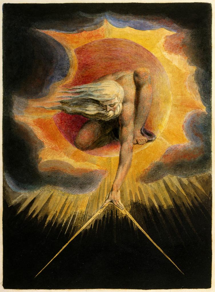 """Cuadro del pintor y poeta inglés William Blake, se ve al """"Anciano de los Días""""."""
