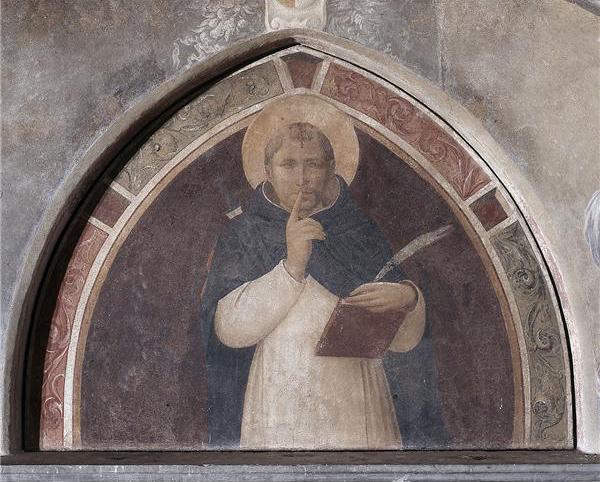 San Pedro Mártir pide silencio a la entrada del convento de San Marcos, Florencia, Italia.