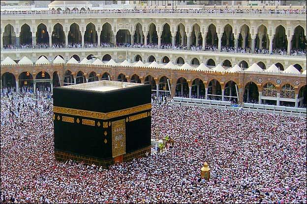 La Kaaba (en árabe الكعبة, al-ka'ba, «el dado» o «el cubo») es una construcción con forma de cubo que se halla en La Meca, Arabia Saudí, y representa el lugar sagrado y de peregrinación religiosa más importante del Islam.