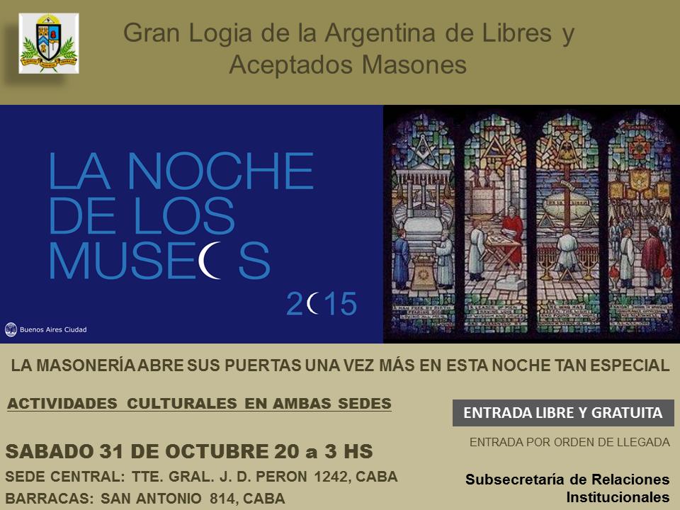 La noche de los museos – Gran Logia de Argentina